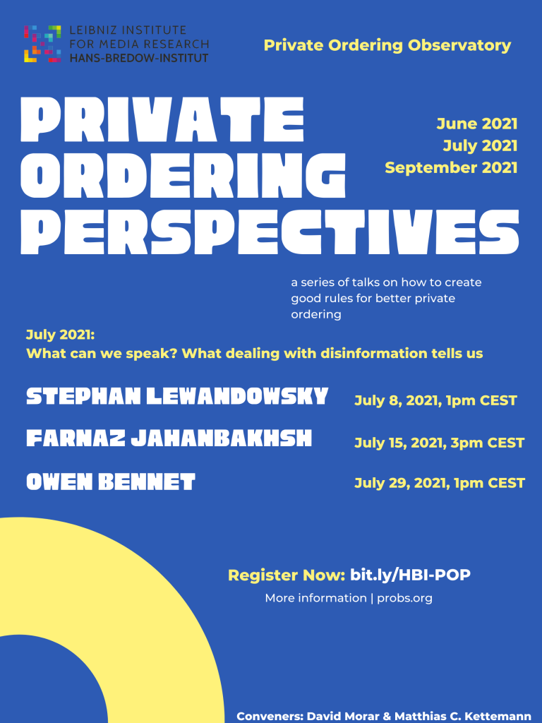 Private Ordering Perspectives July