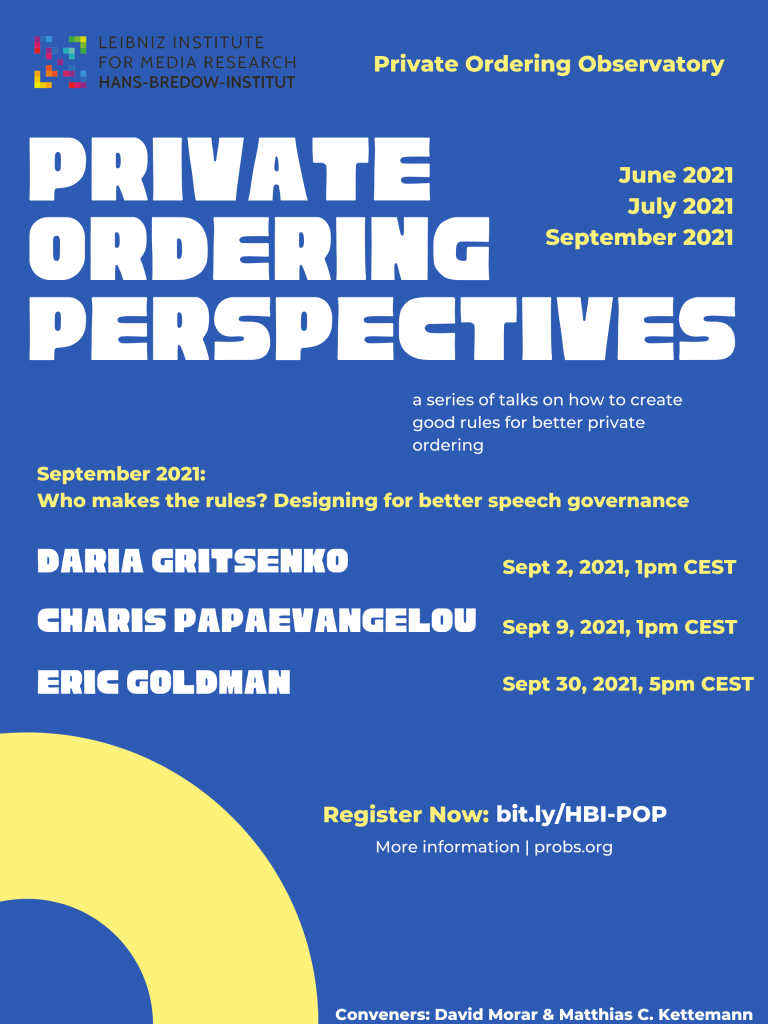 Private Ordering Perspectives September